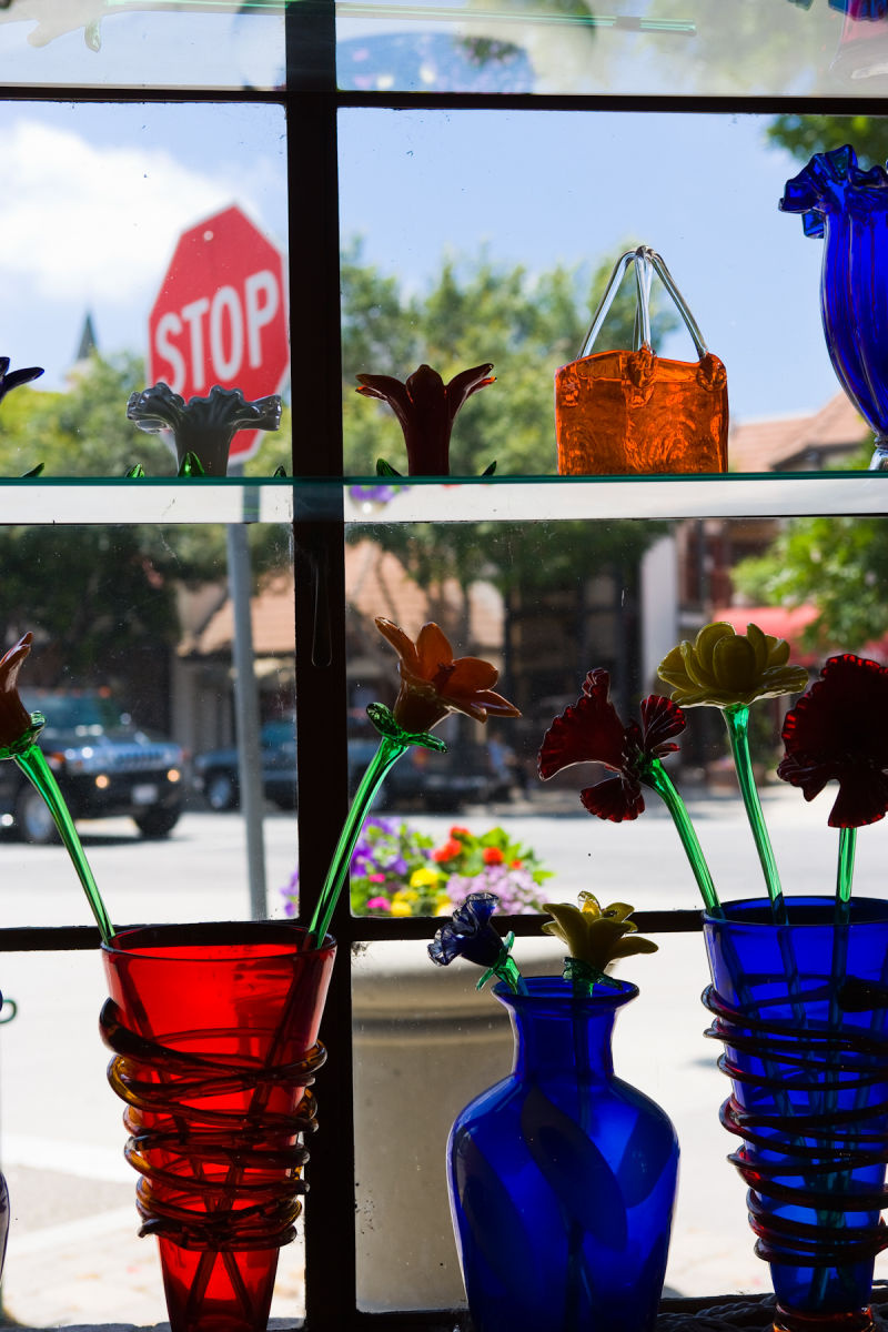 Display window of souvenier shop in Solvang, California